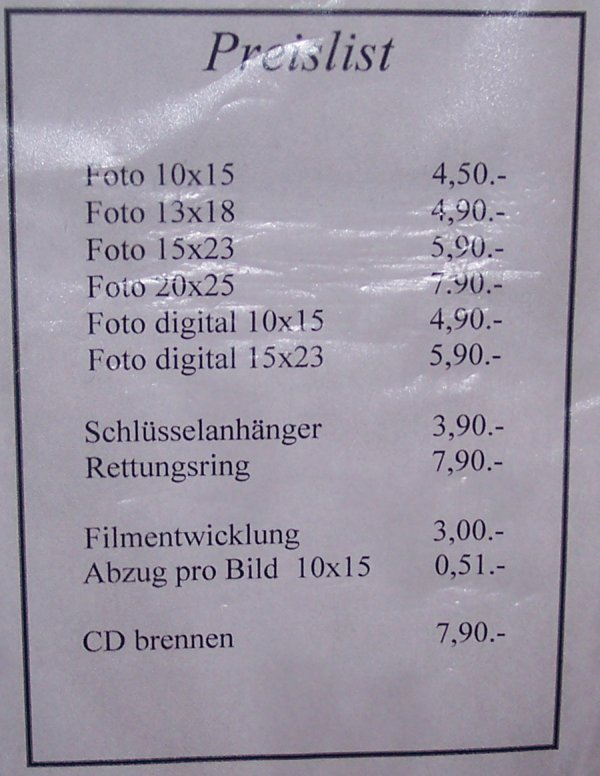 Fotopreisliste