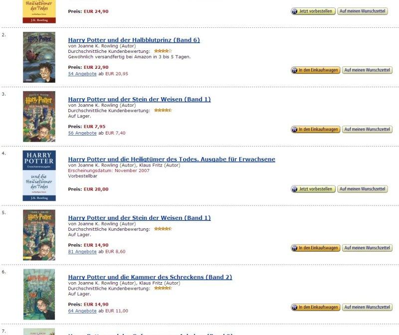 Harry Potter bei Amazon